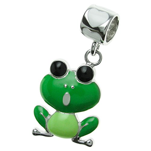 Dreambell 925 Sterling Silver Love Green Frog Enamel Dangle Bead for European Charm Bracelet