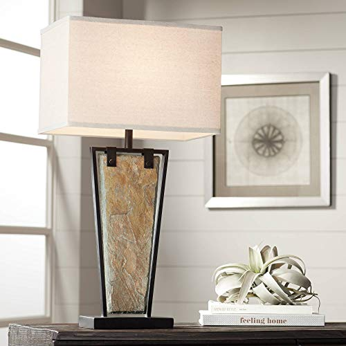 Zion Modern Table Lamp Tapered Natural Slate Bronze Metal Rectangular Shade for Living Room Family Bedroom Bedside – Franklin Iron Works