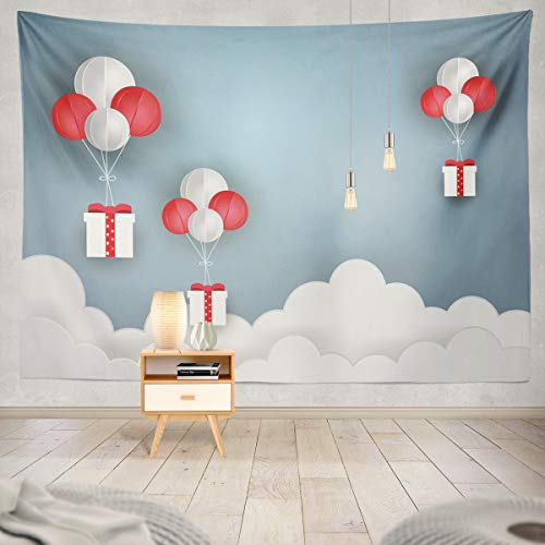 Soopat Tapestry Polyester Fabric Balloon White and Gift Box Air Blue Sky Art Christmas Wall Hanging Tapestry Decorations for Bedroom Living Room Dorm 60X50 inch