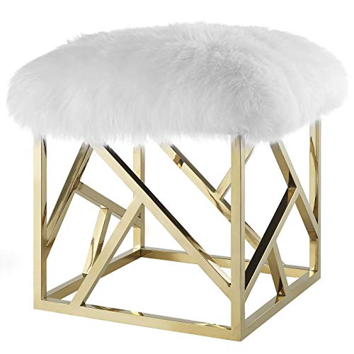 - America Luxury - Chairs Modern Deco Contemporary Living Lounge Club Lobby Accent Chair Ottoman, Metal Steel Skin, Gold White