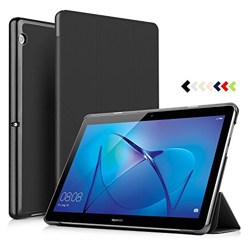 IVSO HUAWEI MediaPad T3 10.0 Case - Ultra Lightweight Slim Smart Cover Case-will only fit HUAWEI MediaPad T3 10.0 inch Tablet (Black) (Huawei Mediapad Case)