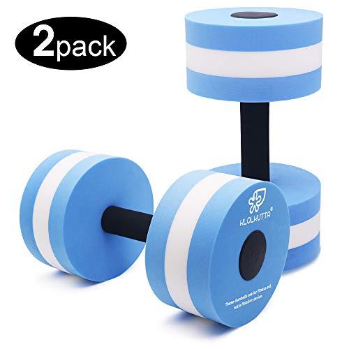 (KLOLKUTTA Aquatic Dumbells, Set of 2 Water Aerobic Exercise Foam Dumbbell Pool Resistance,Water Aqua Fitness Barbells Hand Bar Exercises Equipment for Weight Loss (Blue))