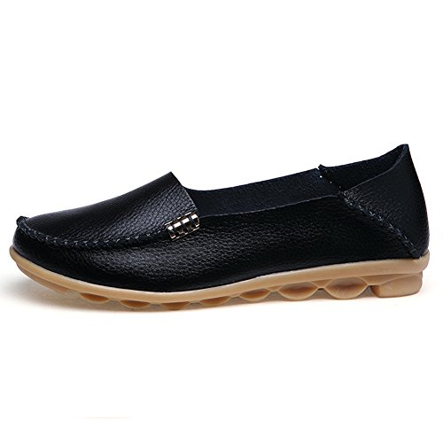 Temofon Lederen Dames Mocassins Loafers Rijden Casual Schoenen Indoor Platte Slip-on Slippers Zwart 3
