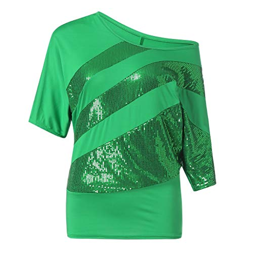 Garden China Rose Block (Sherostore ♡ Sequin T-Shirt, 2019 Casual Short Sleeve for Women's Plus Size Sexy Cold Shoulder Tops Green)