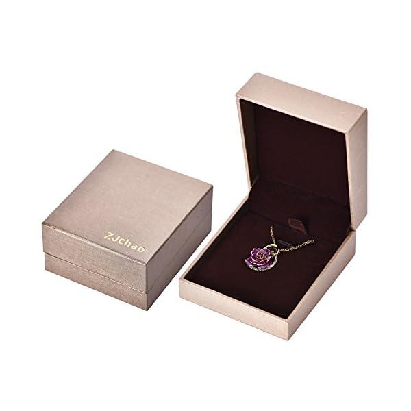 ZJchao – Collar con colgante de oro de 24k con forma de rosa, regalo ideal para mujeres ZJchao – Collar con colgante de oro de 24k con forma de rosa, regalo ideal para mujeres ZJchao – Collar con colgante de oro de 24k con forma de rosa, regalo ideal para mujeres