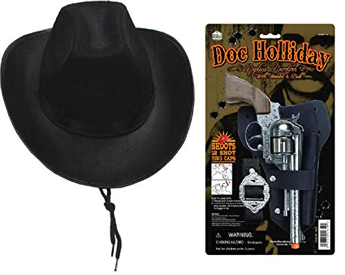 Parris Doc Holliday Wild West Die Cast Toy Cap Gun Holster Set with Black Western Child Size Realistic Cowboy Hat (Western Pistols)