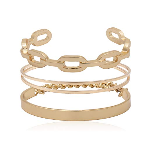 VANVENE Gold Metal Coil Thin Cuff Bangle Bracelets for Women Fashion (Chain)