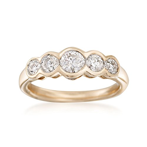 Ross-Simons 1.00 ct. t.w. Bezel-Set Diamond Five-Stone Ring in 14kt Yellow Gold ()