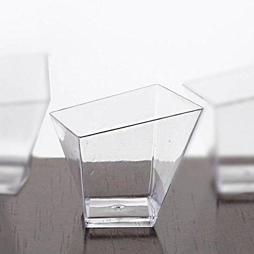 Tableclothsfactory 200 Pcs - Clear Contemporary Square Twist 2oz Disposable Plastic Dessert Cup