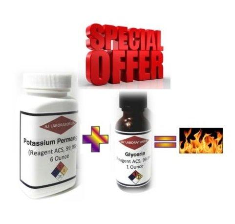 Emergency Fire Starter - Glycerin & Pot Perm Powder Bottle 6 Oz, READ (Potassium Permanganate Glycerin)