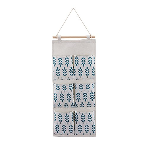- Every Deco Wall Door Hanging Mounted Storage Organization Compartment Pocket Fabric Wood Rope Room Bathroom Toiletry Newspaper Magazines - 6-Pocket Tall - Leaves