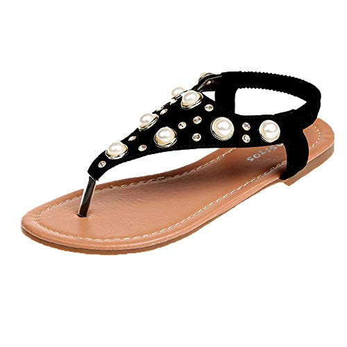 Bohemian Sandals,Boomboom Summer Womens Rhinestone Thong T-Strap Flat Sandals Flip Flops Shoes (Black,US 7)