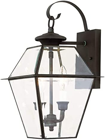 Livex Lighting 2281-61 Westover 2 Light Outdoor Wall Lantern, Charcoal