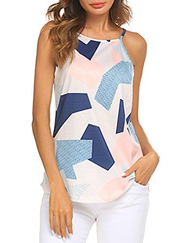Sherosa Women's Casual Spaghetti Strap Floral Print Tank Tops Camis Shirt (L, Geometric)