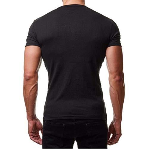 Pullover Hombre Print Manga Military Corta Camiseta Casual New Blusa Estilo Neck O Básica Especial Summer Camuflaje Top Schwarz Para Sport wx5BY4