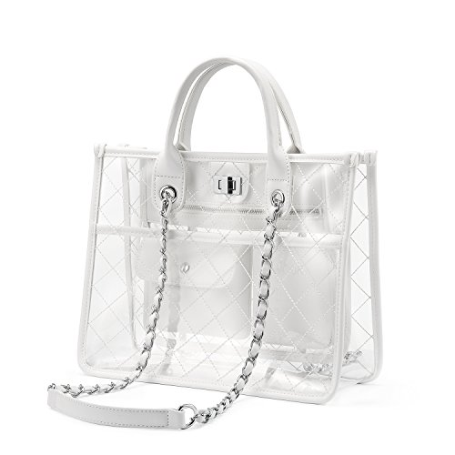 Pvc Fashion Bag - LOVEVOOK Clear Tote Bag With Turn Lock Closure Girly PVC Shoulder Bag White