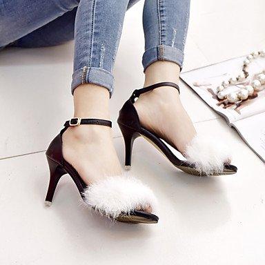 White Negro pom Sandals Casual talón Verano Confort Blanco Fur caminando Slingback Rosa pom Stiletto mujer Gris LFNLYX La wTqORR