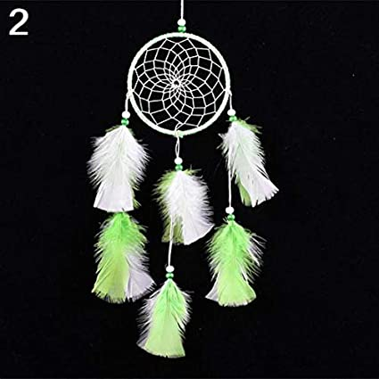 Ameesi Handmade Feathers Dream Catcher Ornament Home Cafe Wall Car Hanging Decoration - Pink & White