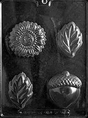 Cybrtrayd Life of the Party F103 Acorn, Sunflower Leaf Chocolate Candy Mold in Sealed Protective Poly Bag Imprinted with Copyrighted Cybrtrayd Molding Instructions