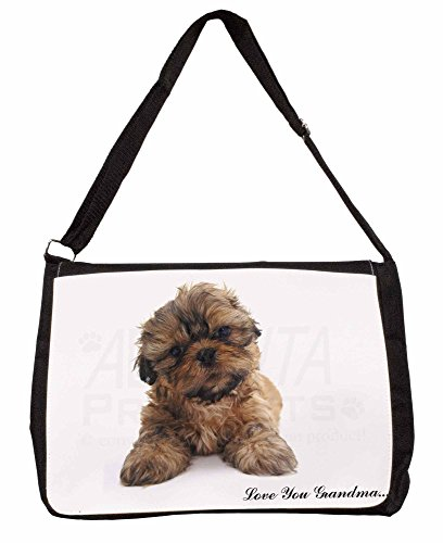 Shih-Tzu Dog Love You Grandma Large 16 Black School Laptop Shoulder Bag 0xTJ4C