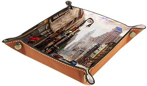 Leer olieop canvas New York Street scène leren munten tabletsleutel voor sieraden telefoon horloges snoep catchalltablet voor mannen en vrouwen geweldig cadeau