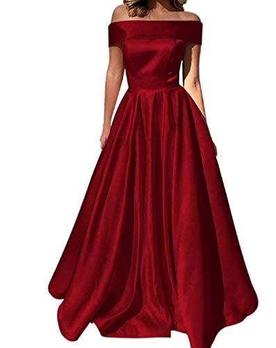 YuNuo Prom Dresses Off The Shoulder Evening Dresses Satin Beaded Party Dress A-Line Long with Pocket Formal Gown Burgundy 10