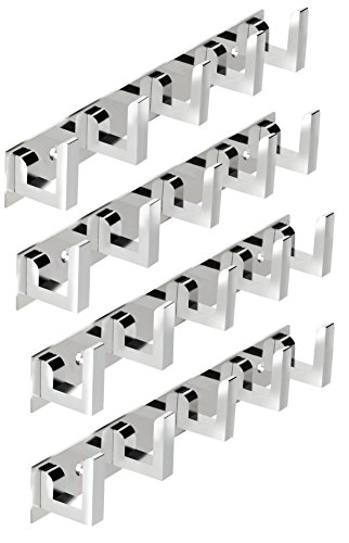 DOCOSS ®  Pack of 4 Classic Glossy  5 Pin Bathroom Cloth Hooks Hanger Door Wall Robe Hooks Rail for Hanging Keys,Clothes,Towel Steel Hook  4