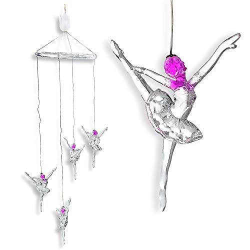 BANBERRY DESIGNS Ballerina Dancer Night Light Mobile Hanging Decoration - Pink LED Lighted Clear Acrylic Figurines - Birthday Gift for Girl - Baby Nursery Room Decor