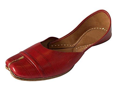 Step n Style Flats Wedding Shoes Indian Designer Shoes Punjabi Jutti Ethnic Sandals Mojari Red/Cherry
