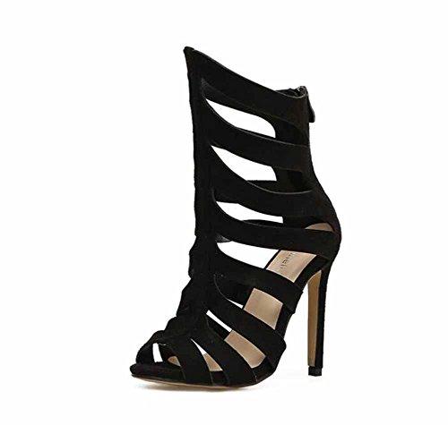 Mujer Black Zapatillas Romano Punta Moda Abierta Tacón Rayas Primavera Encantador 2018 Alto Nuevo Verano Sandalias rr6OwfHq