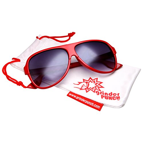grinderPUNCH Men's Gradient Lens Aviator Sunglasses with Plastic Frame Red