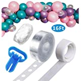Hicet Balloon Decorating Strip 16Ft for Arch Garland Streamer,1pcs Balloon Tying Tool,100 Dot Glue,32Ft Ribbon