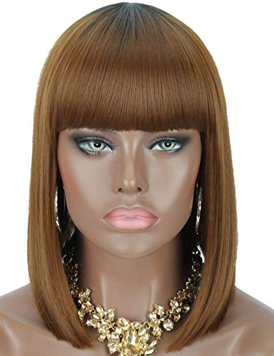 (Kalyss Short Bob Cut Straight Wigs Premium Synthetic Wigs for Black Women Ombre Brown Natural Looking Heat Resistant Wigs with Hair Bangs, 14inches, 0.4lb)