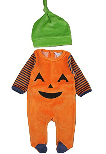[Newborn Baby Boys Girls Halloween Costume Pumpkin Jumpsuit Romper with Hat] (Cute Halloween Costumes For Newborn Babies)
