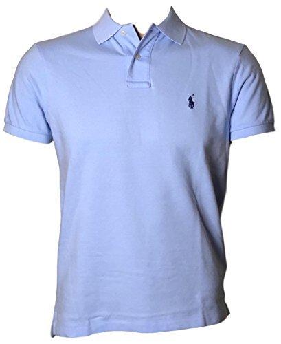 Polo Ralph Lauren Men Custom Fit Mesh Pony Logo Shirt (L, LightBlue) 9f3d5e2c0bd