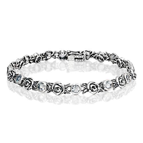 PZ Paz Creations 925 Sterling Silver Clear Quartz Gemstone Rose Tennis Bracelet (7.25, Clear Quartz)