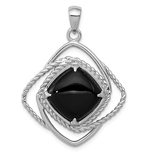 925 Sterling Silver Black Onyx Square Pendant Charm Necklace Geometric Natural Stone Fine Jewelry For Women Gift ()
