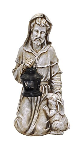 Moonrays 91364 St Francis Garden Statue with Lantern and Solar Powered Amber LED Light, Faux Stone Finish For Sale
