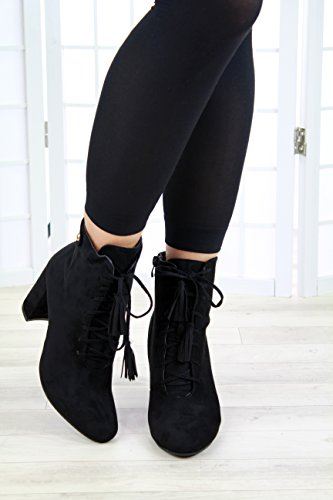 Lace New Fashion Heel High Ladies Shoes Larena Up Tassels Boots Black Womens Zip Ankle Casual Block v5Fqxxaw