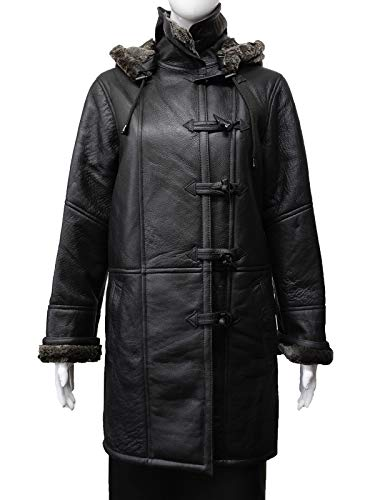 - Black Ladies Trench Style Real Shearling Sheepskin Hooded Leather Jacket Coat (X-Large 14)