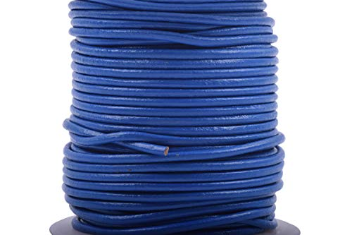 (KONMAY 25 Yards 2.0mm Royal Blue Solid Round Genuine/Real Leather Cord Braiding String (2.0MM, Royal Blue))