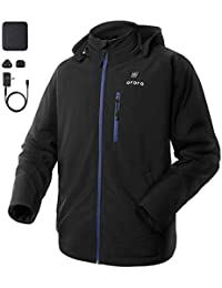 Men's Soft Shell Heated Jacket with Detachable Hood and Battery Pack