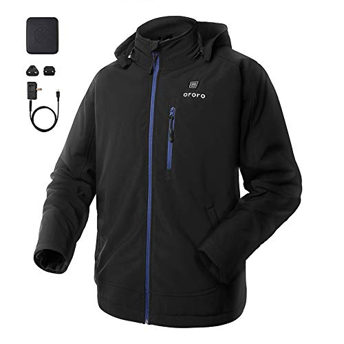 (ORORO Men's Soft Shell Heated Jacket with Detachable Hood and Battery Pack (Blue,M))