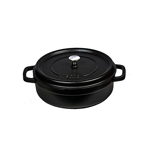Turgla TTMNS28MBLK Hecha Cast Iron 4 quart Shallow Dutch Oven, 11 inch Diameter, 4.25 inch Height, Black