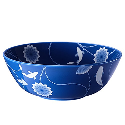 ZENS lifestyle Salad Bowl Bone China 51 OZ 1500ML Large Serving Bowl Blue for Pasta Cereal Dessert Lotus and Fish Continuing (Flow Blue Dinner Plate)