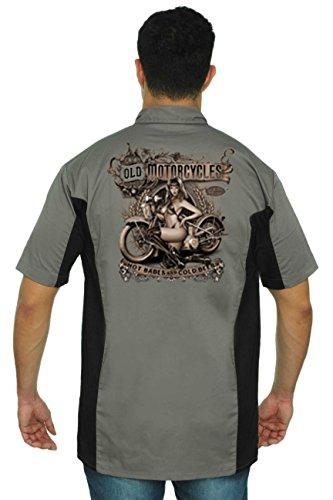 Men's Mechanic Work Shirt Old Motorcycles Hot Babes & Cold Beer Grey/Black ()