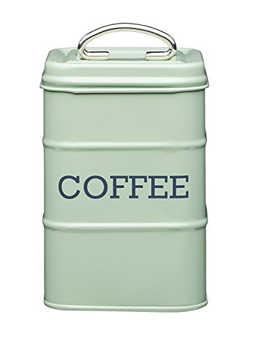 "Living Nostalgia Vintage Style Airtight Tea Tin Canister English Sage Green - 17cm x 11cm 6.5"" x 4"""