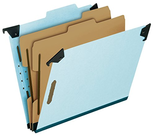 Pendaflex 59252 Pressboard Hanging Classi-Folder, 2 Divider/6-Sections, Letter, 2/5 Tab, Blue - Esselte Recycled Hanging Classification Folder