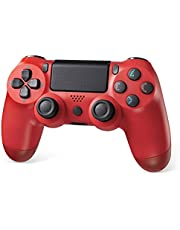 Powerextra PS4 Controller Wireless Gamepad with Audio, Dual-Shock, High-precisive D-pad and 360° Flexible Joystick Function for Playstation 4, Playstation 4 Pro(Red)