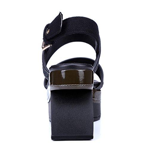 ENMAYER Womens Sequins Glitter überstreifen Schnall Quadratische Zehe Schuhe Für keilabsatz Sommer Beiläufige Art und Weise Sandalen Schwarz#2